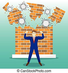 Strong Businessman In Front Of Breaking Brick Wall