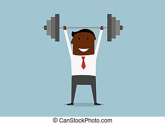 Strong businessman lifting heavy barbell