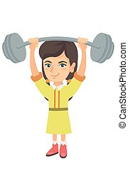 Strong caucasian girl lifting heavy weight barbell