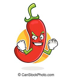 Strong chili pepper mascot, chili pepper character, chili pepper cartoon