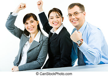 Strong company - Conceptual photo of business team holding...