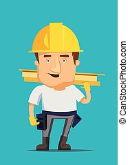 Strong construction worker building