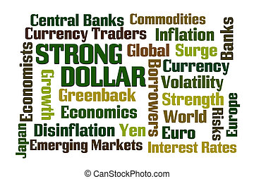 Strong Dollar word cloud on white background
