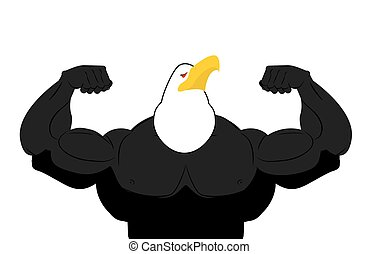 Strong Eagle athlete. fitness bird. Wild animal bodybuilder with huge muscles. Bodybuilder with beak. Sports team mascot