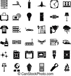 Strong electricity icons set, simple style