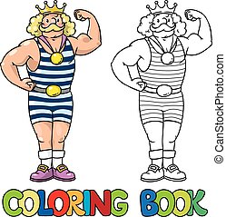 Strong fairy tale king. Coloring book