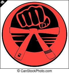 strong fist belt, karate, bjj logo - power power fist mma,...