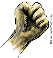 Strong fist isolated on white. Sketch vector illustration