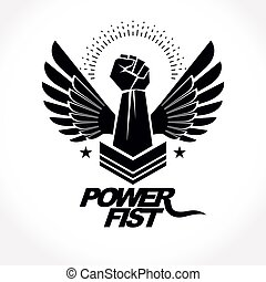 Strong fist of an active sportsman vector symbol created using eagle wings and stars. Fighting club abstract emblem.