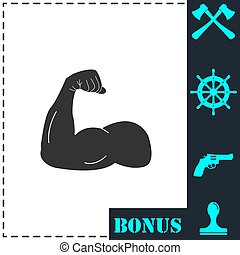 Strong flex arm icon flat