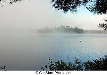 Strong fog above lake in the morning