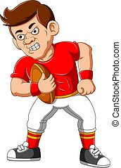 Strong football player cartoon