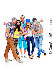 strong friendship - A large group of young people standing ...