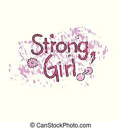 Strong girl for t shirt design