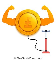 Strong growing pound currency with a pump
