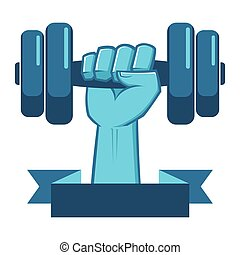 Hand Lifting a Weight Fitness Symbol