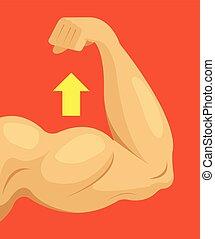 Strong hand. Vector flat cartoon