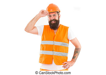 Strong handsome builder. Creating solid foundation. Man protective hard hat and uniform white background. Worker builder confident and successful. Protective equipment concept. Builder enjoy success