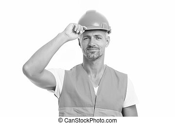 Strong handsome builder. Good job. Safety is main point. Man builder wear protective hard hat and uniform white background. Worker builder confident looking camera. Protective equipment concept