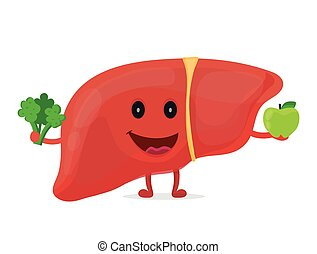 Strong healthy happy liver character with broccoli and apple...
