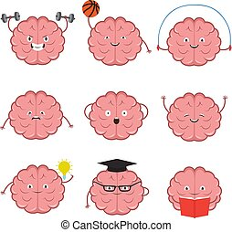 Strong, healthy, sports and smart brain vector cartoon characters set