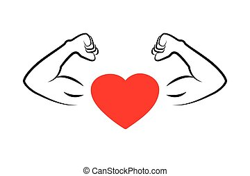 strong heart with muscular arms