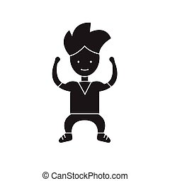 Strong kid black vector concept icon. Strong kid flat illustration, sign