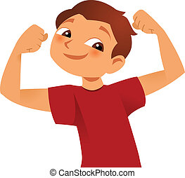 Strong kid - strong kid showing his big muscles
