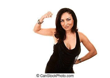 Beautiful strong Latina woman flexing on white background