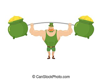 Strong leprechaun holds barbell and pot of full gold. Sports for Santa with Red Beard. Wealth of gold coins to impose for rod. Powerful leprechaun in green sports suit. character for St. Patrick's day in Ireland