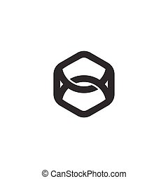 strong linked line hexagonal logo vector