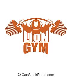 Strong lion emblem. Leo and barbell logo for gym and sports team