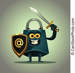 Strong lock character mascot ready protect personal data. Internet online antivirus protection password information security concept. Vector flat cartoon isolated illustration