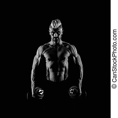 Strong male abs in black and white
