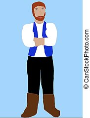 Strong Man - A big, strong man with red hair and beard in a...