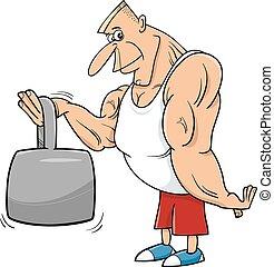 strong man athlete cartoon illustration - Cartoon...