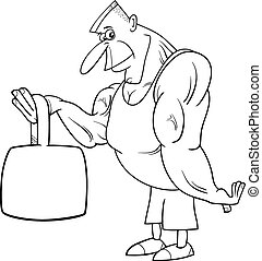 strong man athlete coloring page - Black and White Cartoon...