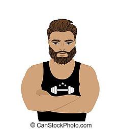 Strong man athlete illustration