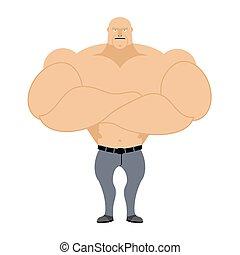 Strong man. Bodybuilder, athlete on a white background. Man...