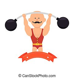 strong man circus with weight lifting