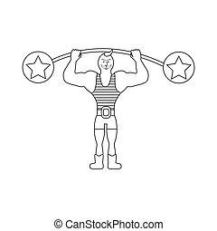 Strong man in circus on the white background. Vector...