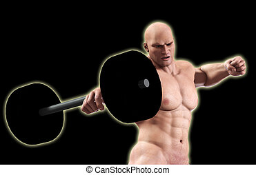 Strong Man Lifting Weight