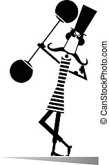 Strong man - Man dressed a striped athletic tights raises...