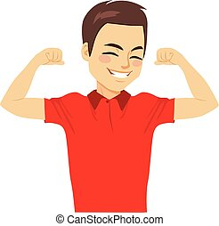 Strong Man Muscle - Young happy attractive strong man...
