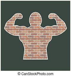 Strong man of bricks, vector