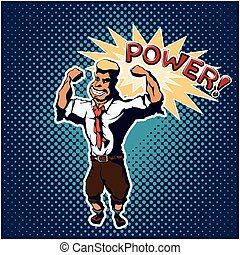 Strong man pop art poster - Strong man standing in the...