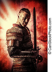 strong man - Portrait of a courageous ancient warrior in...