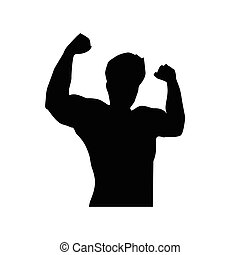 strong man silhouette - strong man show muscles with raises...