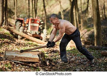 Strong man splitting logs