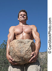 Strong man - Strong muscular shirtless Caucasian man ...